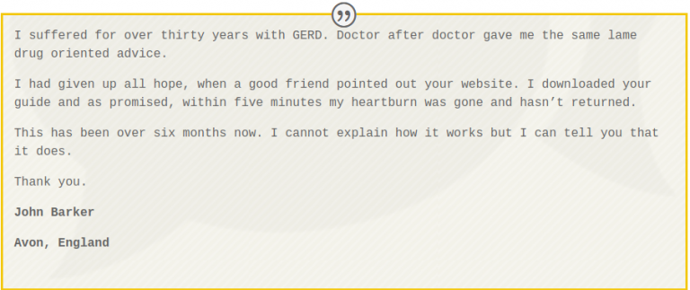 The Acid Reflux Strategy testimonial